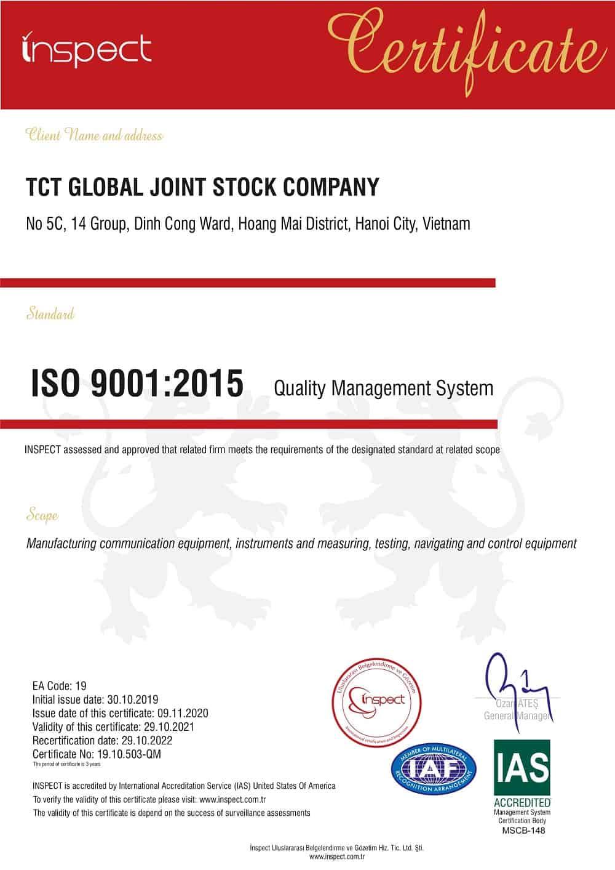 mau giay chung nhan iso 9001 quoc te - Chứng Nhận ISO 9001 : 2015