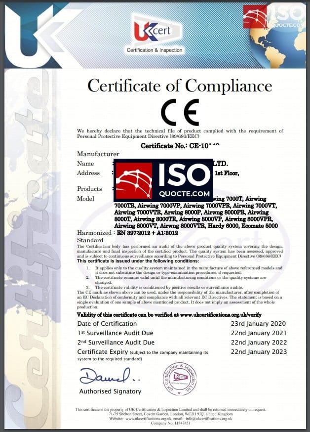 Chứng nhận CE tuân thủ theo tiêu chuẩn phù hợp Châu Âu