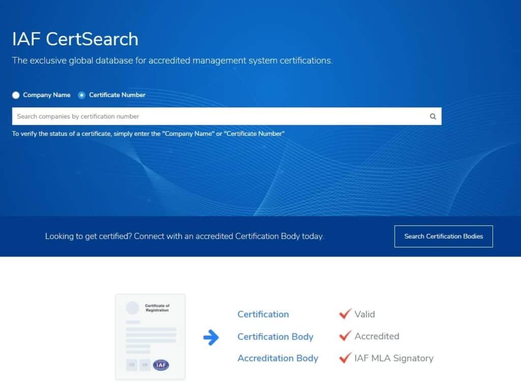 iafcertt 1024x759 - IAFCertSearch - Cơ sở dữ liệu toàn cầu về các chứng nhận hệ thống quản lý